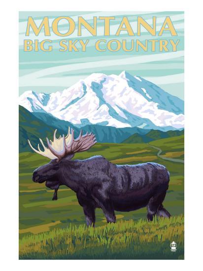 Moose and Mountain - Montana Big Sky Country, c.2009-Lantern Press-Art Print