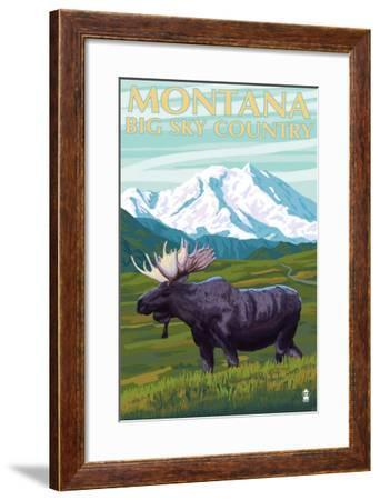 Moose and Mountain - Montana Big Sky Country, c.2009-Lantern Press-Framed Art Print
