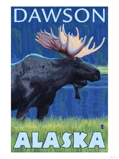 Moose at Night, Dawson, Alaska-Lantern Press-Art Print