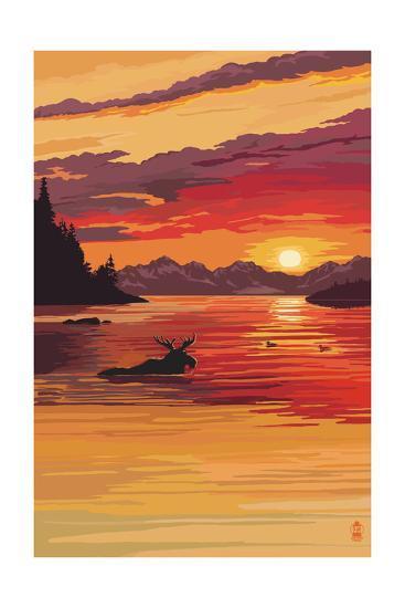 Moose at Sunset (Image Only)-Lantern Press-Art Print
