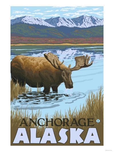 Moose Drinking at Lake, Anchorage, Alaska-Lantern Press-Art Print
