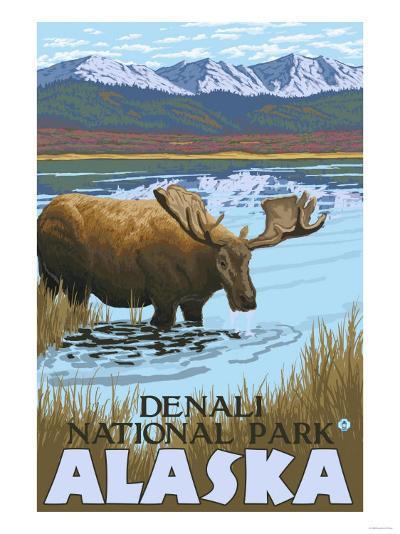 Moose Drinking at Lake, Denali National Park, Alaska-Lantern Press-Art Print