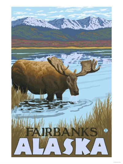 Moose Drinking at Lake, Fairbanks, Alaska-Lantern Press-Art Print