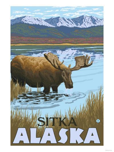 Moose Drinking at Lake, Sitka, Alaska-Lantern Press-Art Print