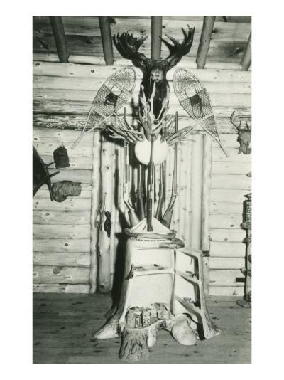 Moose Head, Snowshoes, Trunk Cabinet--Art Print