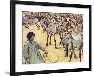Moose Herd, Illustration from 'Helpers Without Hands' by Gladys Davidson, Published in 1919-John Edwin Noble-Framed Giclee Print