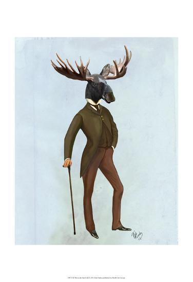 Moose In Suit Full-Fab Funky-Art Print