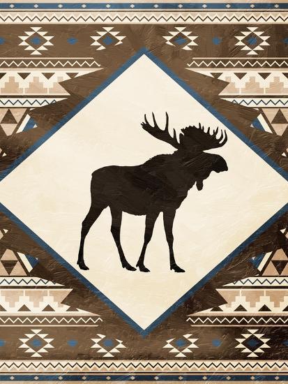 Moose Pattern Mate-Jace Grey-Art Print