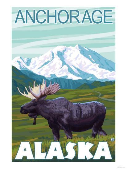 Moose Scene, Anchorage, Alaska-Lantern Press-Art Print
