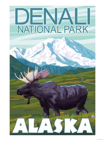 Moose Scene, Denali National Park, Alaska-Lantern Press-Art Print