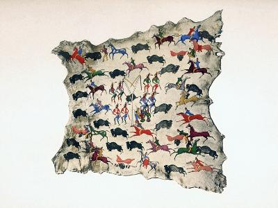 Moose Skin by North American Shoshone Indian, Showing Buffalo Hunt, 20th Century- Katsikodi-Giclee Print