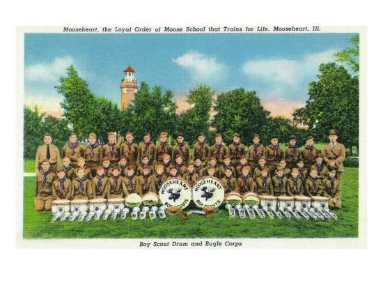 Mooseheart, Illinois, View of the Boy Scout Drum and Bugle Corps-Lantern Press-Art Print