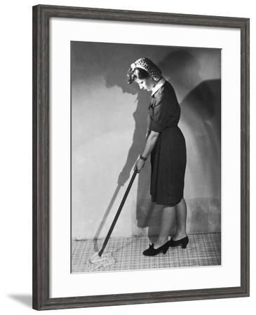 Mopping Linoleum 1940s--Framed Photographic Print