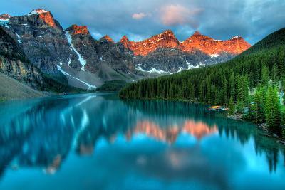 Moraine Lake Sunrise Colorful Landscape-JamesWheeler-Photographic Print