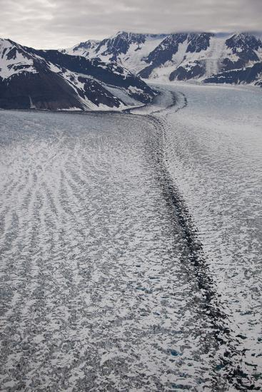Moraine Lines at the Joining of Hubbard and Valerie Glacier-Matthias Breiter-Photographic Print