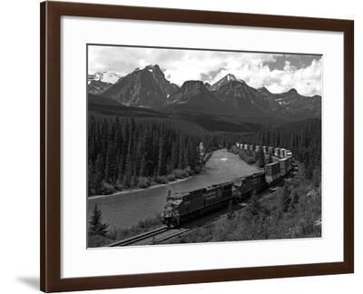 Morants Curve, Bow River, Canadian Pacific Railway, Near Lake Louise, Banff National Park, UNESCO W-Hans Peter Merten-Framed Photographic Print