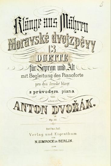 Moravian Duets by Dvorak--Giclee Print
