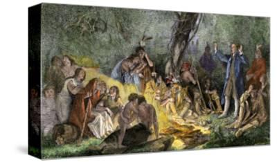 Moravian Missionary David Zeisberger Preaching to Native Americans in Pennsylvania, 1760s