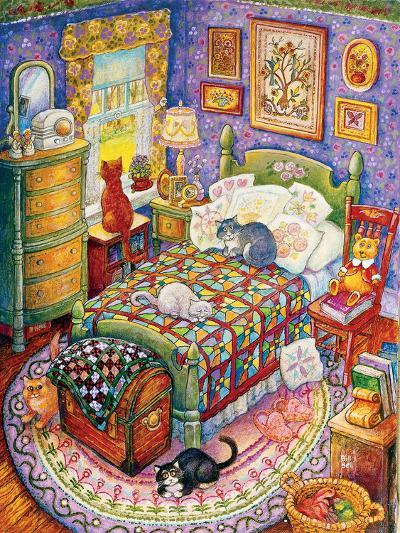 More Bedroom Cats-Bill Bell-Giclee Print
