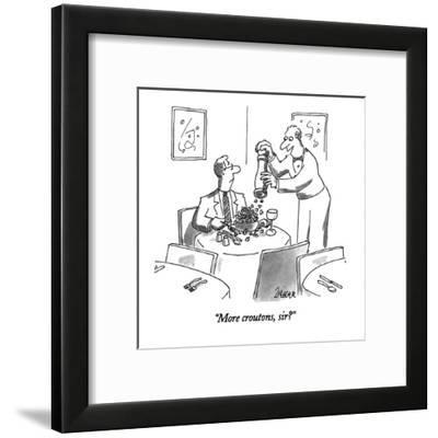 """More croutons, sir?"" - New Yorker Cartoon-Jack Ziegler-Framed Premium Giclee Print"