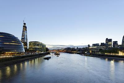 More London Riverside with City Hall and Office Buildings, Dusk, London, England, Uk-Axel Schmies-Photographic Print