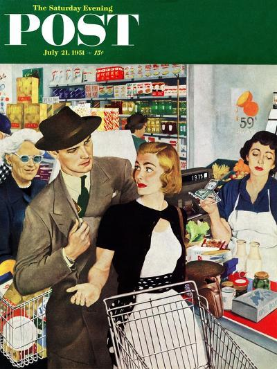 """More Money, Honey"" Saturday Evening Post Cover, July 21, 1951-George Hughes-Giclee Print"