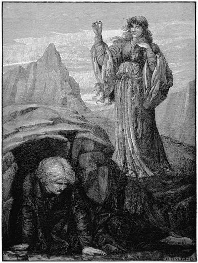 Morgan Le Fay Casts Spell on Merlin-Henry Ryland-Giclee Print