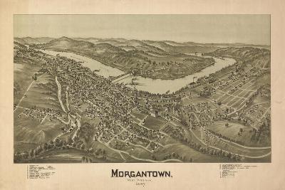 Morgantown, West Virginia - Panoramic Map-Lantern Press-Stretched Canvas Print