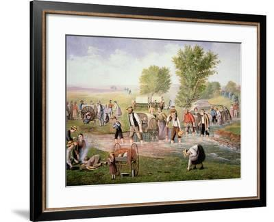 Mormon Pioneers Pulling Handcarts on the Long Journey to Salt Lake City in 1856--Framed Giclee Print