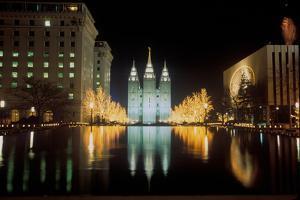 Mormon Temple at night in Salt Lake City Utah