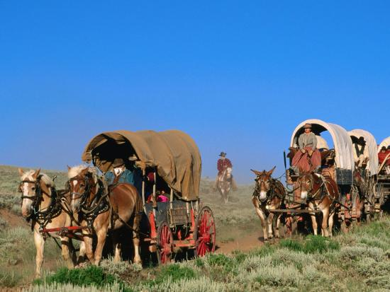 Mormons on Horse Carriages, Mormon Pioneer Wagon Train to Utah, Near South Pass, Wyoming-Holger Leue-Photographic Print