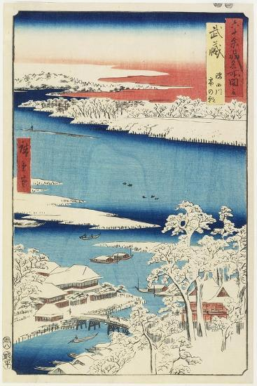Morning after Snow at Sumida River in Musashi Province, August 1853-Utagawa Hiroshige-Giclee Print