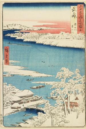 Morning after Snow at Sumida River in Musashi Province, August 1853-Utagawa Hiroshige-Giclee Print