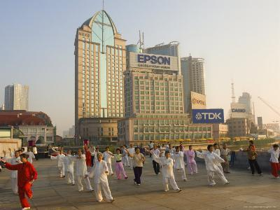 Morning Exercise, the Bund, Huangpu, Shanghai, China-Jochen Schlenker-Photographic Print