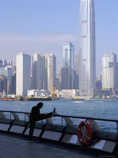 Morning Exercise, Victoria Harbour and Two Ifc Tower, Hong Kong, China-Amanda Hall-Photographic Print