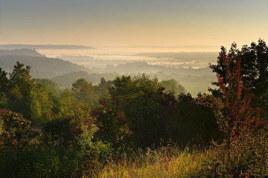 Morning Fog in the Saale Valley, Near Naumburg, Burgenlandkreis, Saxony-Anhalt, Germany-Andreas Vitting-Photographic Print