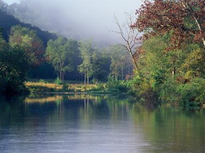 Morning Fog on River, Missouri, USA-Gayle Harper-Photographic Print