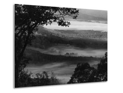 Morning Fog Swirls in the Valley Below on an Autumn Morning in This Black and White View-Amy White Al Petteway-Metal Print