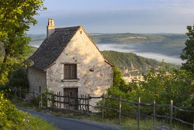 Morning Mist Along River Lot, Cottage in Saint Cirq Lapopie, Midi-Pyrenees France-Brian Jannsen-Photographic Print