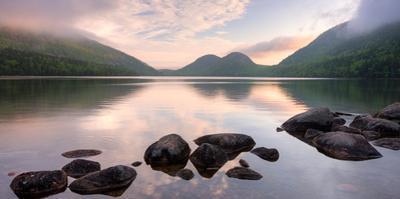 Morning Mist on Jordan Pond, Acadia National Park, Maine, USA
