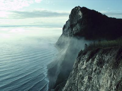 Morning Mist on Picturesque Cliffs off Coast--Photographic Print