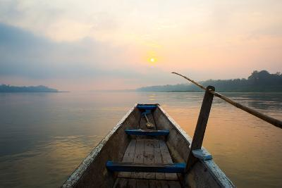 Morning of the Lake with  the Boat-jannoon028-Photographic Print