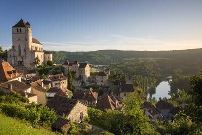 Morning over Saint-Cirq-Lapopie, Lot Valley, Midi-Pyrenees, France-Brian Jannsen-Photographic Print