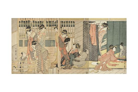 Morning Parting at the Temporary Lodgings of the Pleasure Quarter, 1801-Kitagawa Utamaro-Giclee Print