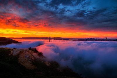 Morning Sky Fire Fog Golden Gate Bridge, San Francisco California Travel-Vincent James-Photographic Print