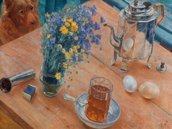 Morning (Still Life with Tea Pot, Glass of Tea and Vase of Flowers), 1918-Kosjma Ssergej Petroff-Wodkin-Giclee Print