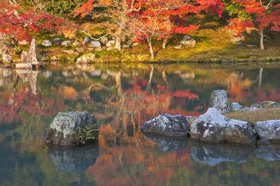 Morning Sunlight Illuminates Autumn Foliage and Reflections in Pond, Sogen Garden, Tenryuji Temple-Ben Simmons-Photographic Print