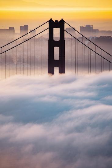 Morning Sunrise Fog, Beautiful Golden Gate Bridge, San Francisco Cityscape-Vincent James-Photographic Print