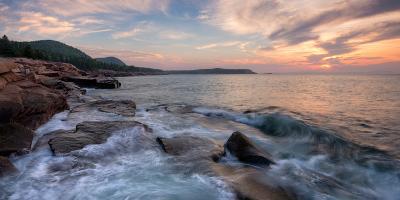 Morning Surf at Coast, Acadia National Park, Maine, USA--Photographic Print