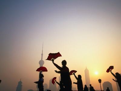 Morning Tai Chi Exercise in the Bund, Shanghai, China-Ray Laskowitz-Photographic Print